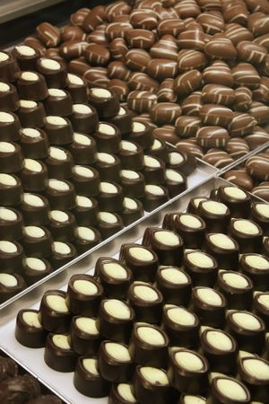 food industry: Chocolate Store at a Milk Candy Factory Stock Photo