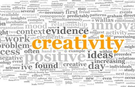 Creativiteit als een tekst Cloud abstracte achtergrond Kunst Stockfoto