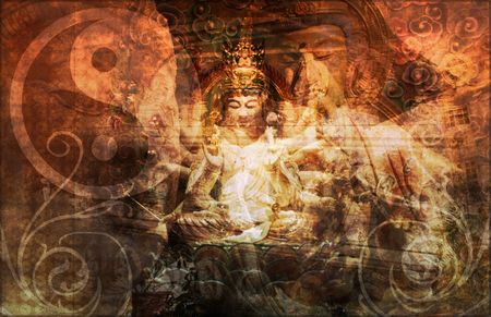 mystique: Asia Abstract Art Buddha as a Background Stock Photo