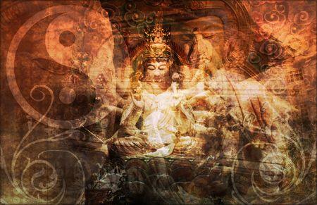 taoist: Asia Abstract Art Buddha as a Background Stock Photo