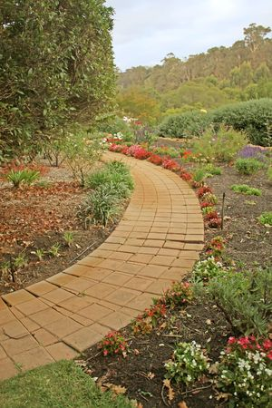 Secret Garden Path with Flowers for Walking photo
