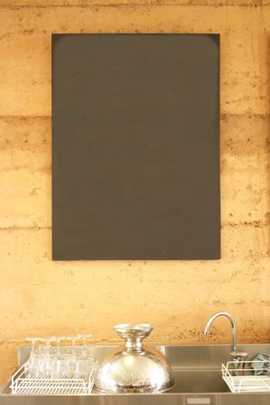 Blank Blackboard Sign Menu in a Restaurant Stock Photo - 4886299