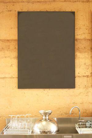 Blank Blackboard Sign Menu in a Restaurant Stock Photo - 4886299