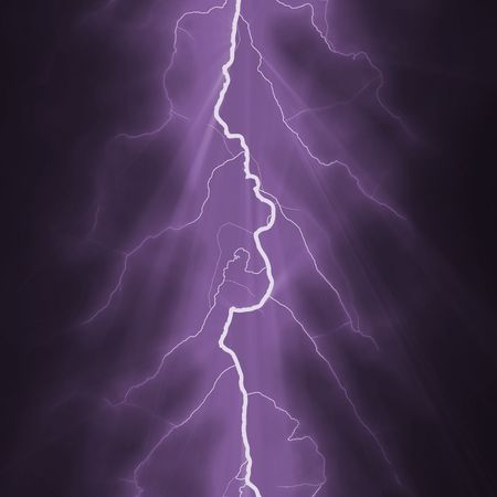 thundering: Lightning Bolt Forked Against a Dark Sky Stock Photo