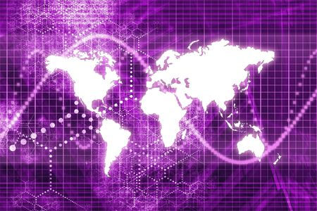 Purple Digital World Business Abstract With Graph Background