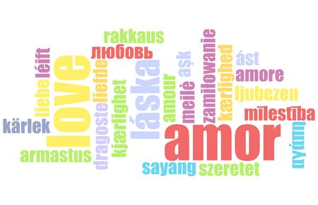 Love in Many Languages Text Abstract Background photo