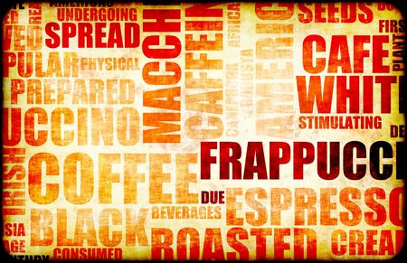 Coffee Menu Beverage as a Art Grunge Background Stock Photo