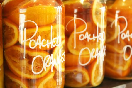 labelled: Preserved Oranges in a Big Labelled Jar Stock Photo