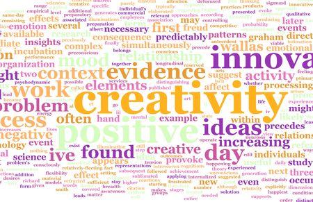 Creativiteit als een tekst Cloud abstracte achtergrond kunst