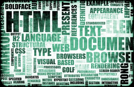 terminology: HTML Script Code as an Education Background Stock Photo
