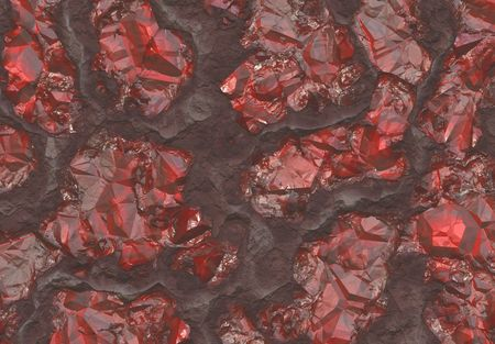 Ruby Stones Buried in Host Rock Bed Abstract Background photo