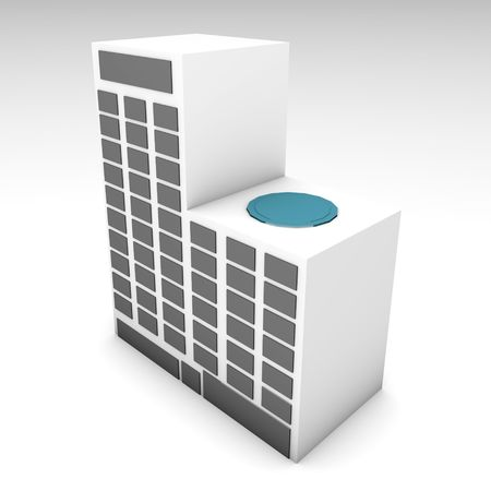 Apartment Building or Hotel 3d Clip Art  Stock Photo