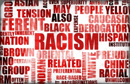 prejudice: Racism and Discrimination as a Grunge Background Stock Photo