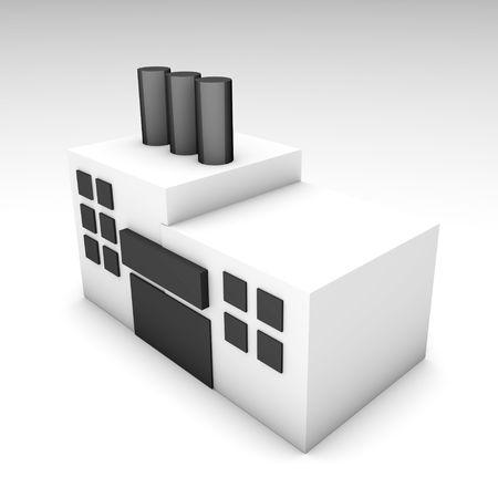Factory Building in 3d Clip Art Illustration Stock Illustration - 4991733