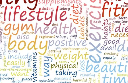 health   fitness: Health and Fitness List as Abstract Background