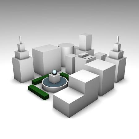 urbanized: Concrete Jungle 3d City as a Illustration Concept