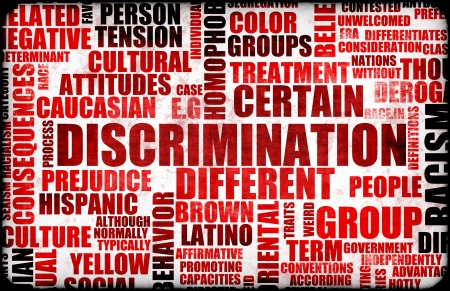 prejudice: Discrimination Creative Concept Grunge as a Art Stock Photo