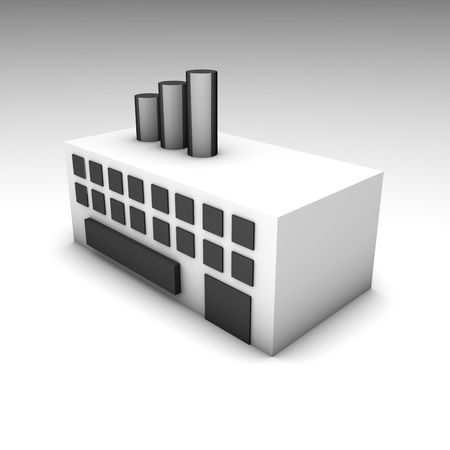 heavy industry: Factory or Warehouse Building as a 3D