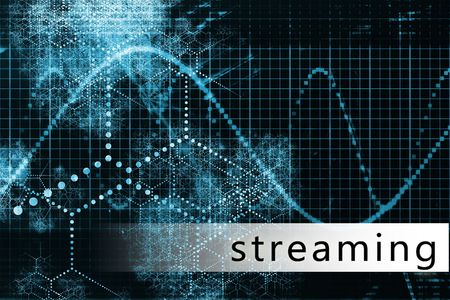 convention: Streaming in a Blue Data Background Illustration