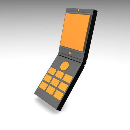 cel: Mobile Phone in 3d and Black Orange Stock Photo