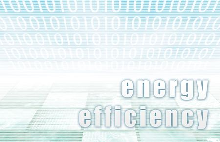 Energy Efficiency on a Clear Blue Tech Background Stock Photo - 5059387