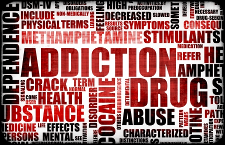substance: Red Drug Addiction Dangers Grunge Warning Concept