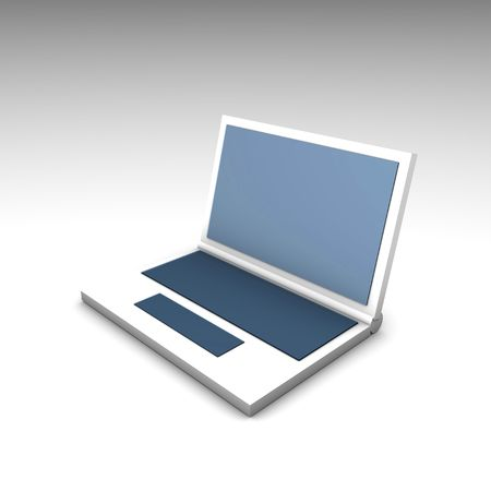 Blue White Netbook Computer Laptop in 3d photo