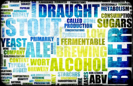 informational: Beer Drink Types Menu as a Grunge Background Stock Photo
