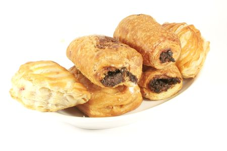 Assorted Danish Pastries Isolated on a White Background Stock Photo - 5092940