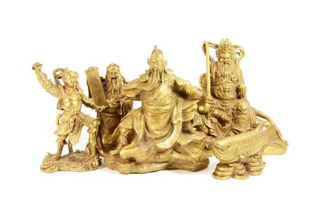 legends folklore: Chinese Deities and Gods in Brass Statues Stock Photo