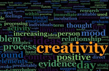 word art: La creatividad es un texto de niebla Resumen Antecedentes de Arte