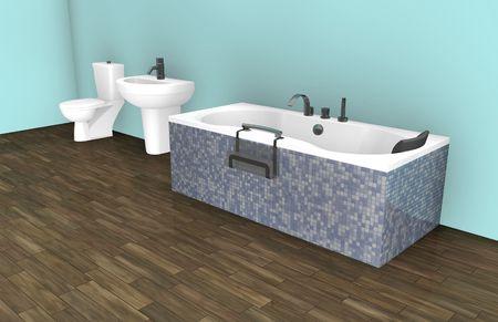 Blue Modern Bathroom Interior Design Decor Art photo