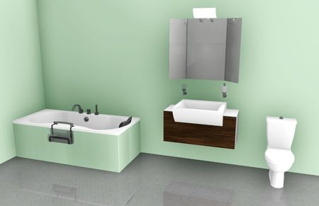 Bathroom Interior Design On Tub, Sink and Toilet photo