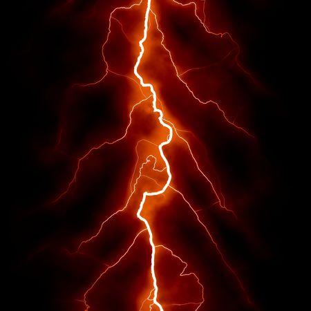 Lightning Bolt Forked Against a Dark Sky photo