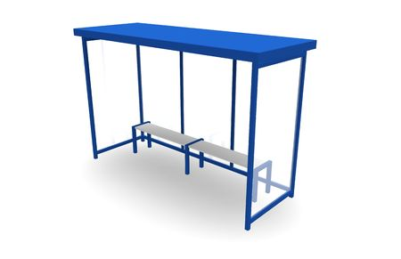Bus Stop Travel Station in 3d Blue photo