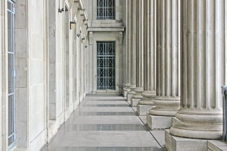 trial balance: Justicia y Tribunal Edificio Libertad en el D�a Foto de archivo