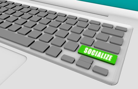 Socialize Online with a Green Keyboard Button Stock Photo - 5158615
