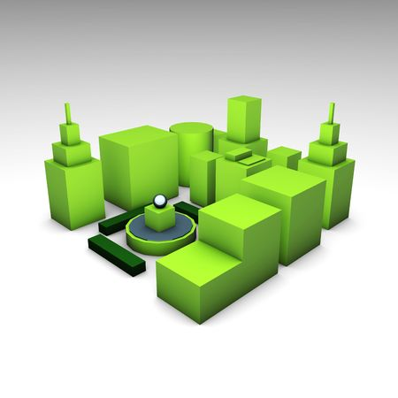 environment friendly: Futuristic Environment Friendly Green City in 3d Stock Photo