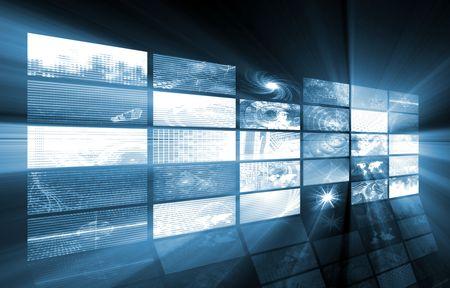 definition: Futuristic Web Cyber Data Grid Color Background Stock Photo