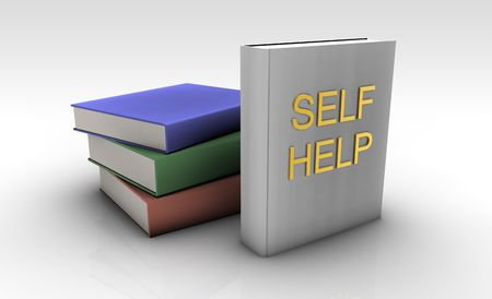 self   improvement: Self Help Books On a White Background