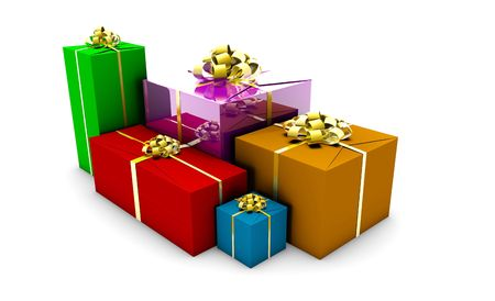 Wrapped Gift Boxes in Different Colors Box photo