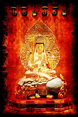 tourist attractions: Buddha in a Chinese Temple in Singapore