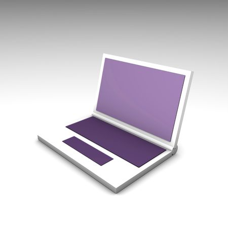 Purple White Computer Notebook in 3d Art photo