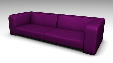 lounging: Purple Leather Sofa in 3d Furniture Illustration