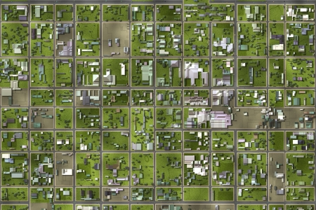 zoomed: Satellite View From the Top of a Suburb