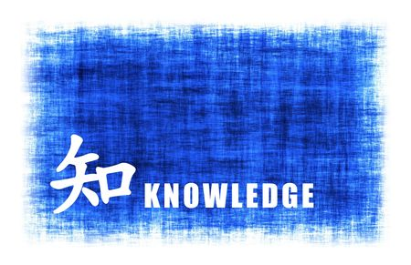 Chinese Art for Knowledge on Blue Parchment photo