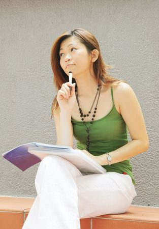 Future Next Steps Asian Lady in Deep Thought Stock Photo - 5266865