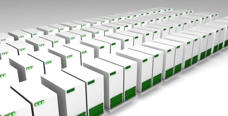 webhost: Data Center Storage With Multiple Servers in 3D Stock Photo