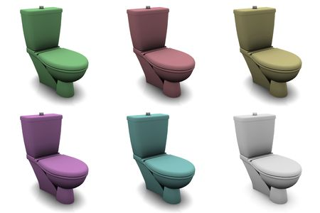 Toilet Bowls in Different Colors and 3d photo