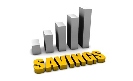 Growing Savings in 3d with Bar Graph Chart Stock Photo - 5296785